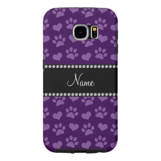 Personalized name purple hearts and paw prints samsung galaxy s6 cases