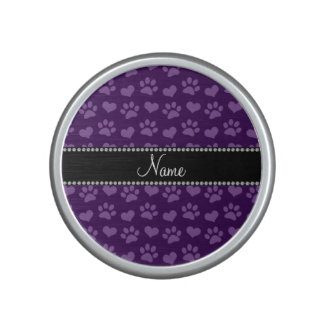 Personalized name purple hearts and paw prints speaker
