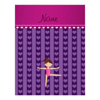 Personalized name purple hearts stripes gymnast personalized flyer