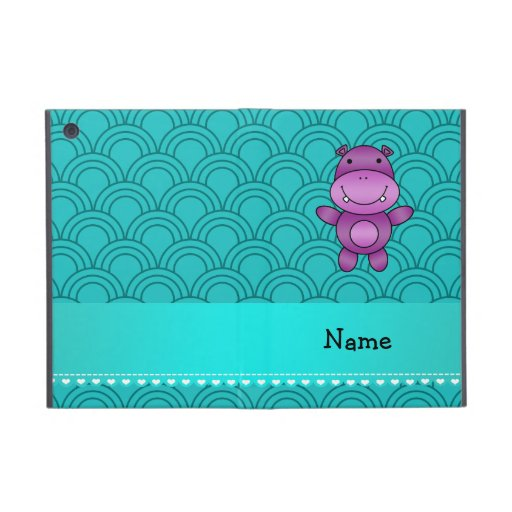 Personalized name purple hippo turquoise pattern covers for iPad mini