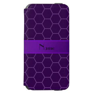 Personalized name purple honeycomb incipio watson™ iPhone 6 wallet case