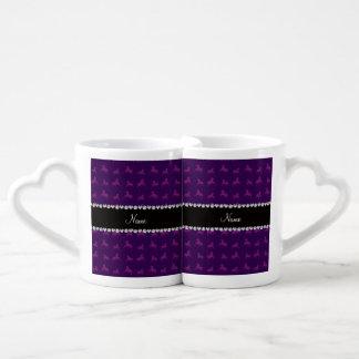 Personalized name purple horse pattern lovers mug