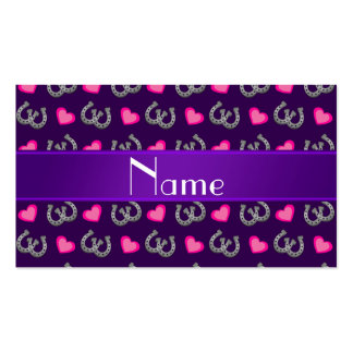 Personalized name purple horseshoes pink hearts business card template