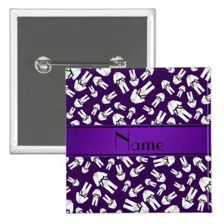 Personalized name purple karate pattern pins