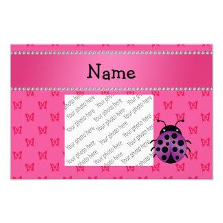 Personalized name purple ladybug pink butterflies art photo