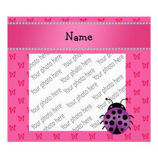 Personalized name purple ladybug pink butterflies photo art