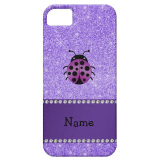 Personalized name purple ladybug purple glitter case for the iPhone 5