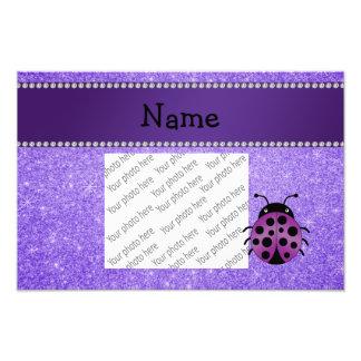 Personalized name purple ladybug purple glitter photo