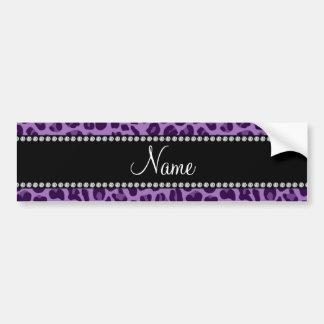 Personalized name purple leopard pattern bumper sticker