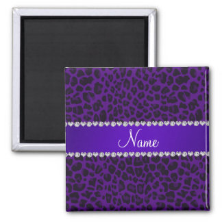 Personalized name purple leopard pattern magnet