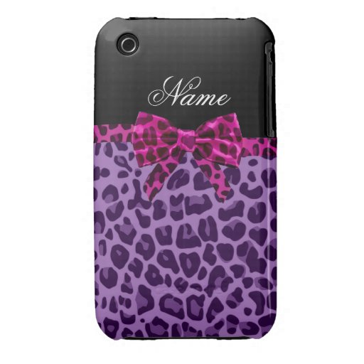 Personalized name purple leopard print pink bow iPhone 3 cover