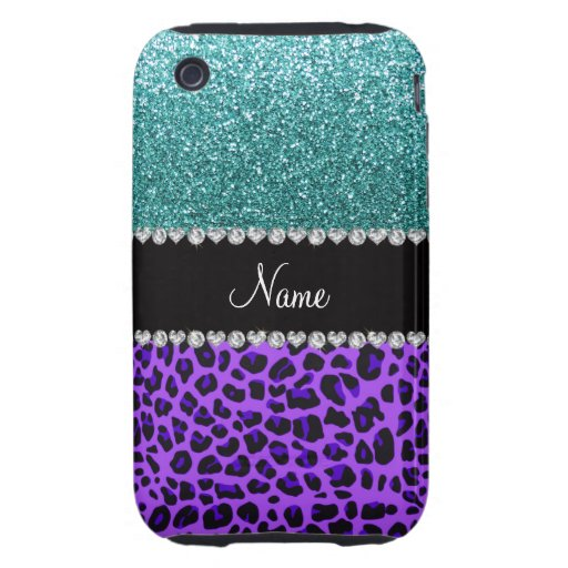 Personalized name purple leopard turquoise glitter iPhone 3 tough case
