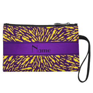 Personalized name purple lightning bolts wristlet clutches