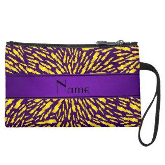 Personalized name purple lightning bolts wristlet purses