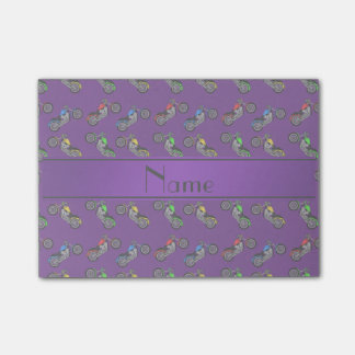 Personalized name purple motorcycles post-it notes