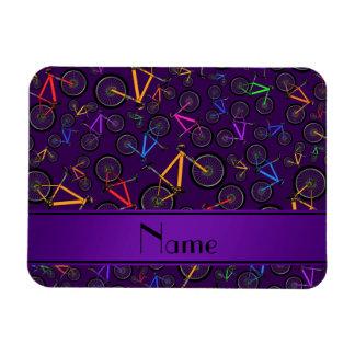 Personalized name purple mountain bikes rectangular magnet