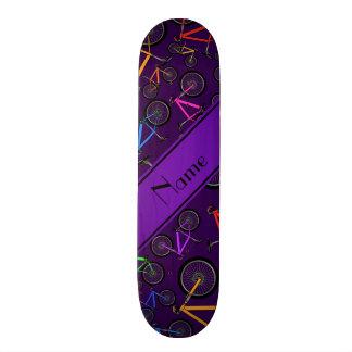 Personalized name purple mountain bikes skate board decks