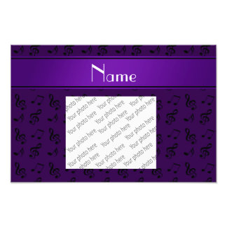 Personalized name purple music notes art photo