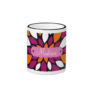 Personalized Name Purple Orange Flower Petal Art Coffee Mugs