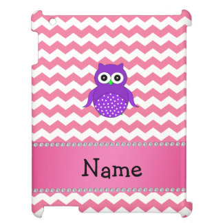 Personalized name purple owl pink chevrons iPad cases
