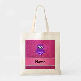 Personalized name purple owl pink glitter budget tote bag