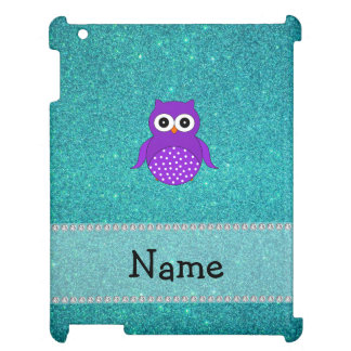 Personalized name purple owl turquoise glitter iPad case