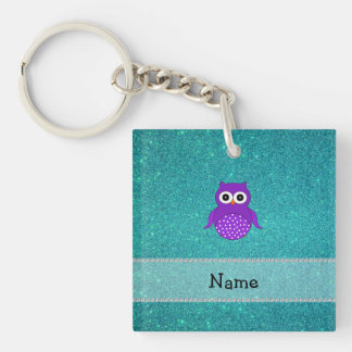 Personalized name purple owl turquoise glitter Single-Sided square acrylic key ring