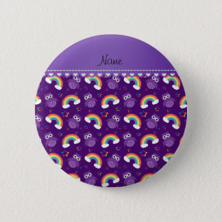 Personalized name purple owls rainbows stars 6 cm round badge