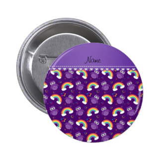 Personalized name purple owls rainbows stars 6 cm round badge