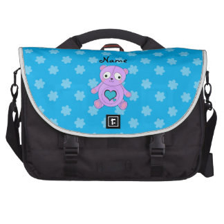 Personalized name purple panda blue flowers laptop computer bag
