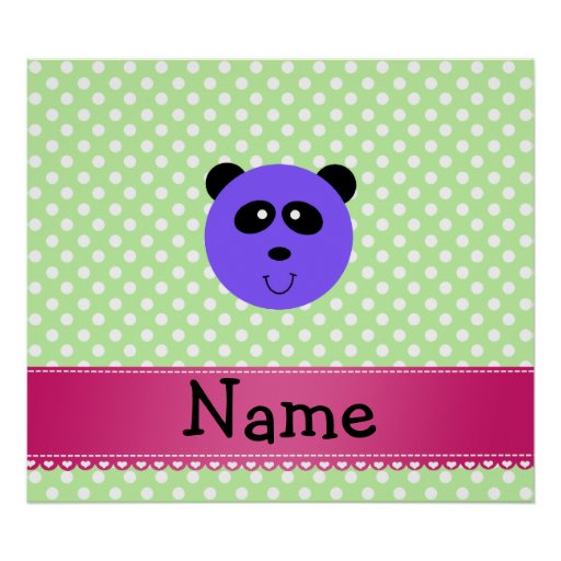 Personalized name purple panda face poster