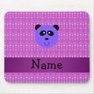 Personalized name purple panda head mouse pads