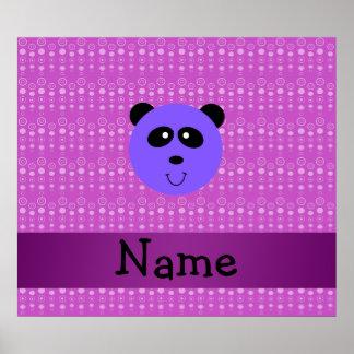 Personalized name purple panda head posters