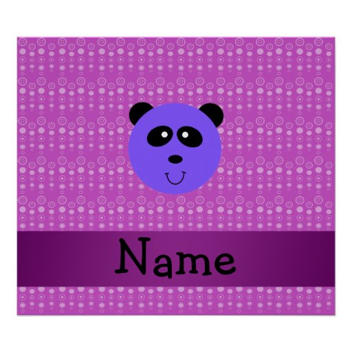 Personalized name purple panda head posters