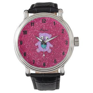 Personalized name purple panda pink glitter wristwatch