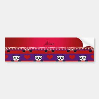 Personalized name purple panda red heart stripes bumper sticker