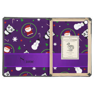 Personalized name purple panda santas christmas cover for iPad air