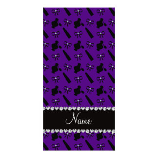 Personalized name purple perfume lipstick bows personalized photo card