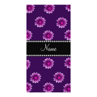 Personalized name purple pink flowers photo cards