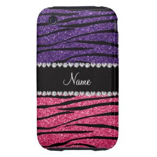 Personalized name purple pink glitter zebra stripe iPhone 3 tough case