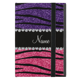 Personalized name purple pink glitter zebra stripe iPad mini case