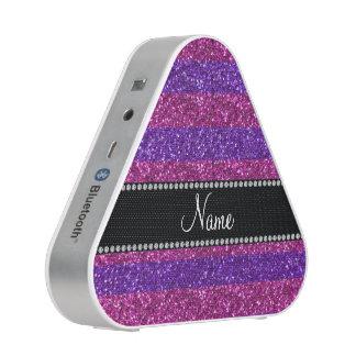 Personalized name purple pink stripes glitter bluetooth speaker