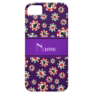 Personalized name purple poker chips case for the iPhone 5