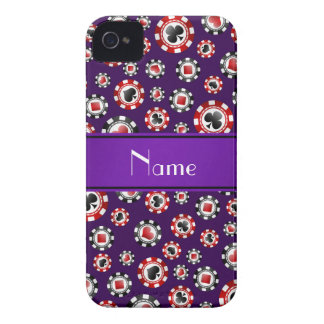 Personalized name purple poker chips Case-Mate iPhone 4 cases