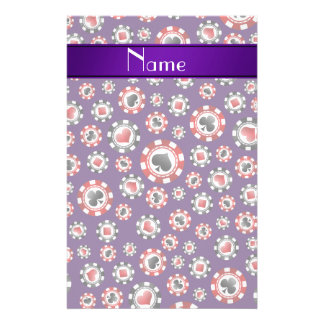 Personalized name purple poker chips custom stationery