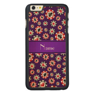 Personalized name purple poker chips iPhone 6 plus case