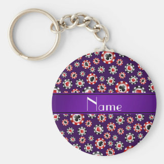 Personalized name purple poker chips key ring