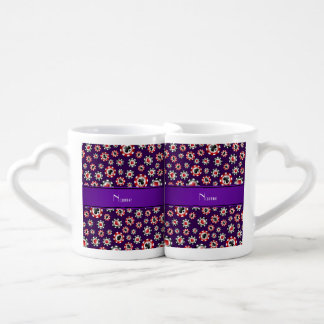 Personalized name purple poker chips lovers mug