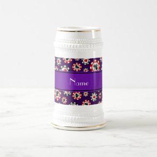 Personalized name purple poker chips mug