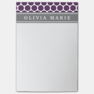 Personalized Name Purple Polka Dots Pattern Post-it Notes